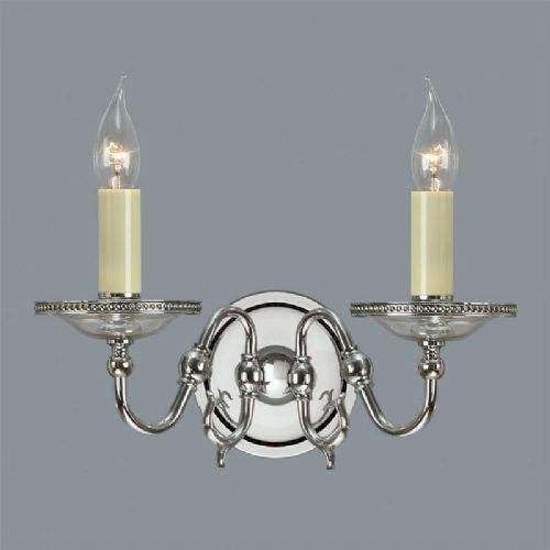 Tilburg Nickel Double Wall Light (Contemporary, Crystal, Modern Classic, Wall Lamp) CA20W2N